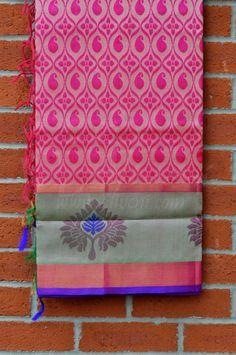 Pink Kollam Saree with mango/floral weave all over & Broad Sea Green/Purple/Zari Border - Aliveni
