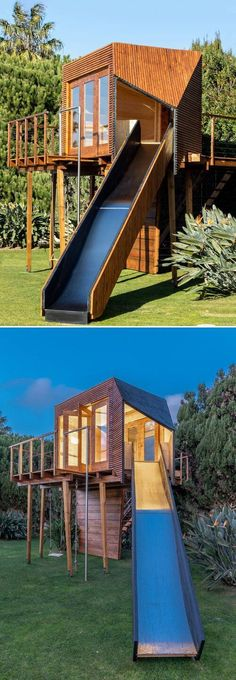 Madeiguincho, a Portugal studio has made a reputation for itself by constructing some of the finest treehouses inspired by nature and mankind. This time around, the studio brings out a treehouse named Cassiopeia in Portugal which acts as a leisure house for kids and will remind you of your childhood days. Childhood Days, Another World, Mother Nature, Portugal, Construction, Treehouses, Studio, Kids, Inspired