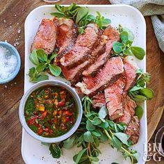 Grilled Ribeye Steaks with Pesto