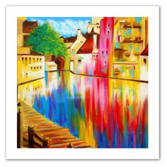 River Through Treviso by Susi Franco Painting Print on Canvas
