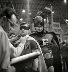 """Batman and Robin (Adam West and Burt Ward) on the """"Batman"""" set in Los Angeles in Who can explain the significance of the From a series of photos taken by Richard Hewett for Look magazine. I think Batman is drinking coffee Adam West Batman, Batman Sets, Batman 1966, I Am Batman, Batman Robin, Superman, Batman Tv Show, Batman Tv Series, Space Ghost"""