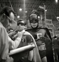 "Batman and Robin (Adam West and Burt Ward) on the ""Batman"" set in Los Angeles in 1966. | Photographer: Richard Hewett - for Look magazine"