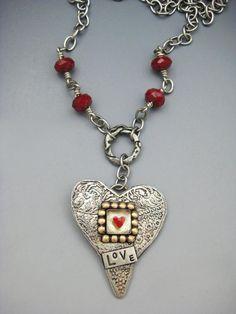 Etched German silver heart has a sterling silver square bezel cup edged with 14 individually applied red Heart Jewelry, I Love Jewelry, Heart Earrings, Metal Jewelry, Silver Jewelry, Jewelry Making, Jewelry Box, Jewlery, Valentines Jewelry