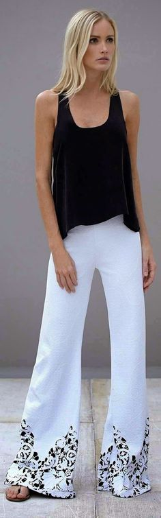 White Palazzo Pant With Black Top