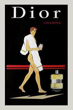 Cologne-Dior-Man-Towel-Bath-Eau-Sauvage-20x30-Vintage-Poster-Repro-FREE-S-H