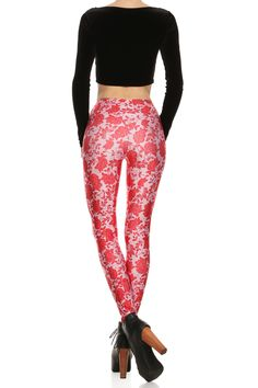 Red Floral Lace Leggings | POPRAGEOUS