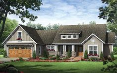 I like the exterior with shed dormer and porch. Would like similar on smaller house. ePlans Craftsman House Plan – Three Bedroom Craftsman Ranch – 1818 Square Feet and 3 Bedrooms from ePlans – House Plan Code Craftsman Ranch, Craftsman Cottage, Craftsman Style House Plans, Ranch House Plans, Cottage House Plans, Craftsman Bungalows, Cottage Homes, Craftsman Exterior, Modern Craftsman