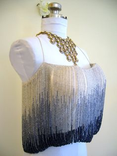 MAGNIFICENT Couture CHLOE by Karl Lagerfeld OMBRE Glass Beaded Encrusted 1970s Top Blouse - 1 Off Design for Show - Museum Deaccession on Etsy, $595.00