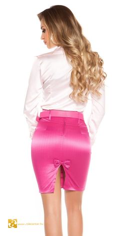 Pinker Rock, Secretary Outfits, Workwear Fashion, Satin Skirt, Satin Blouses, Sexy Skirt, Blouse And Skirt, Leather Dresses, Hot Outfits