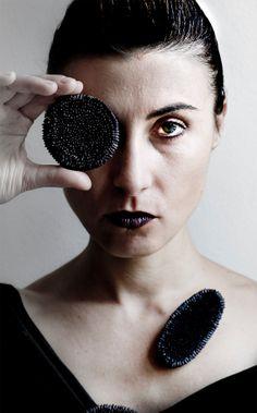 Black upcycled brooch by Giardinoblu on Etsy, $38.00