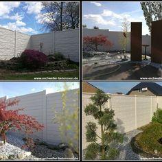 was für eine kombination, metallelemente im betonzaun! #betonzaun, Garten ideen