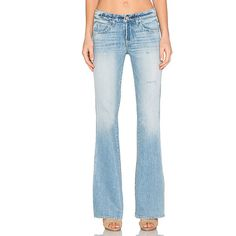 AMO Kick Flare ($115) ❤ liked on Polyvore featuring jeans, distressed flare jeans, torn jeans, destruction jeans, ripped flare jeans and distressing jeans