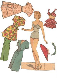 paper dolls from the 1940's | Various cut out newspaper dolls. I think they are from the 1940s or ...