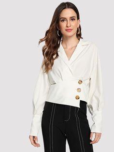 Elegant Button and Wrap Plain Shirt Regular Fit Notched Long Sleeve Bishop Sleeve Placket White Crop Length Lantern Sleeve Button Front Wrap Blouse Fashion 2020, Fashion News, Fashion Outfits, Women's Fashion, Indian Blouse, Plain Shirts, Spring Shirts, Bishop Sleeve, Wrap Blouse