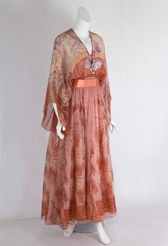 Designer Clothing at Vintage Textile: #7410 Zandra Rhodes evening dress 1970s