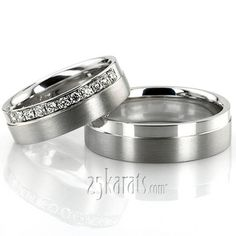 $1,086.96 Palladium Channel Set Diamond Wedding Band Set A single step-edge design his & hers set. His ring is 6mm wide. Her ring is 6mm wide and set with 11 Round Brilliant Cut Diamonds. Each diamond weighs 0.02ct, total 0.22ct. The diamonds are graded G in color and SI1 in clarity. The body of the is satin finished. Step-edge is high polished.