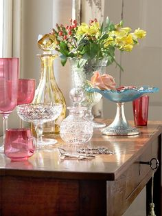 the mix of pastel glass and crystal