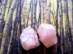 A Pair Of Rose Quartz Healing Crystals Rough Stones by OneWithGems, $8.00