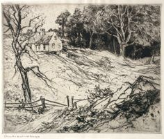 """Edge of the Wood,"" Charles Herbert Woodbury, etching, Cleveland Museum of Art."
