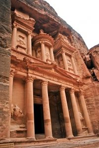Petra - Greek meaning 'stone';  is an Arabian historical and archaeological city in the Jordanian governorate of Ma'an, that is famous for its rock-cut architecture and water conduit system.  Established possibly as early as 312 BC as the capital city of the Nabataeans.  New Seven Wonder of the World.