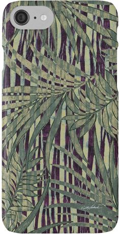 Eggplant Grass and Artichoke Palms iPhone Cases by Polka Dot Studio, new, #vintage #tropical #jungle #island #art on fashionable #tech #accessories. #Phone cases, #laptop cases, #iPhone 7 and more. Coordinating products available. Perfect #gift idea and a decorative original way to protect all your tech gear!