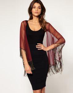 wear with denim frayed shorts and black tank. has a boho-ish feel.    #Embellished #Fringe #Kimono