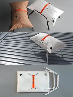 This simple seat is composed of an inflatable paper pillow and a metal frame. The Yacht stool features more durable bag made of Dakron® sailcloth — a water- and sun-resistant synthetic material. Design by MALAFOR. Modular Furniture, Cool Furniture, Furniture Design, Design Strategy, Material Design, Chair Design, Industrial Design, Contemporary Design, Packaging Design