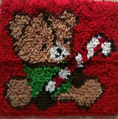 Completed Teddy Bear Latch Hook Christmas Holding Candy Cane 15x15 Pillow  #LatchHook