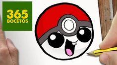 COMO DIBUJAR POKEBALL KAWAII PASO A PASO - Dibujos kawaii faciles - How to draw a Pokeball - YouTube