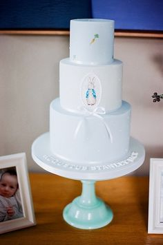 Beautiful Beatrix Potter / Peter Rabbit themed Celebration Cake - perfect for a birthday party, Christening, Baptism or Baby shower  Event by http://www.jessiethomson.co.uk Image by: http://www.katiejpiper.com