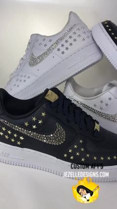 Customized Swarovski - 🌟 Star-Studded Premium Leather Hand Jeweled 💎by 💎 Source by JezelleDesigns - Air Force One Shoes, Nike Shoes Air Force, Sneakers Fashion, Fashion Shoes, Fashion Outfits, Souliers Nike, Snicker Shoes, Louis Vuitton Shoes Sneakers, Basket Noir
