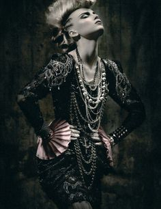 Punk fashion.  Mohawk.  Pearls and chains.  Just enough frill to be decadent.