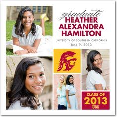 """USC Elegance"" Graduation Announcement from Tiny Prints."