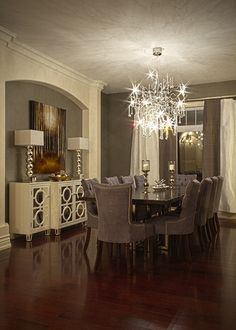 gray/cream dining room, with a great chandelier...