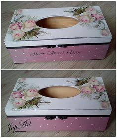Decoupage Box, Decoupage Vintage, Tissue Box Covers, Tissue Boxes, Wood Crafts, Diy And Crafts, Kleenex Box, Pretty Box, Diy Bow