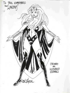 From the 1996 Marvel/DC Amalgam crossover. The design of Amazon a combination of Storm & Wonder Woman by John Byrne.