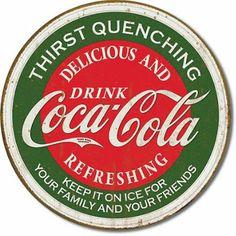 Coca Cola Coca Cola Logo calmar la sed verde redondo retro apenado vintage Cartel de chapa