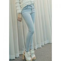 Wholesale Narrow Feet High Waistline Bleach Wash Slimming Women's Pencil Pants Only $8.43 Drop Shipping | TrendsGal.com