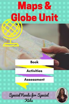 Maps and Globes Unit for Special Education, especially autism.  This 75 page unit was developed specifically for students with autism and special learning needs. It introduces what maps and globes are. It address the key features of each and how they are alike and different. The material engaging and accessible to multiple learning levels, including 3 versions of an assessment.