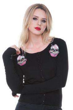 Jawbreaker-Zombie-Skull-Black-Pink-Cupcake-Punk-Goth-Soft-Cardigan-Sweater-Top