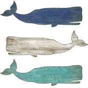 Wooden Whale Wall Art distressed wood whale art wall hanging folk style 46 inch blue