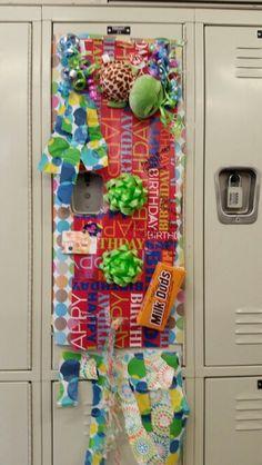 Decorating someone's locker for their birthday