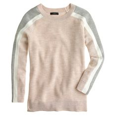 Stripe-sleeve merino sweater
