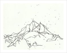 Black And White Geometric Mountains mountain sketch drawing print - black and white 8x10 wall art