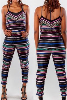 Multicolor Striped Strappy Jumpsuit Sale On www.lulugal.com, Free Shipping!