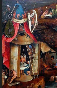 Lantern of doom. Notice the vertically joined panels. Bosch, Last Judgement, Bruges, after 1486. Central panel.