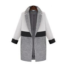 SheIn(sheinside) White Grey Lapel Pockets Woolen Coat ($53) ❤ liked on Polyvore featuring outerwear, coats, multi, colorblock wool coat, long sleeve coat, grey wool coat, colorblock coat and long woolen coats