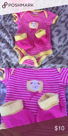 Nb Striped Romper with Matching Booties! Cute Pink/Yellow Newborn Striped Romper with Matching Booties! No Stains...Maybe Wore Twice.... No Trades/PP Nuby Bottoms Jumpsuits & Rompers
