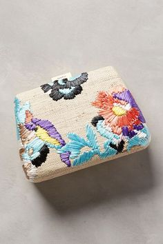 #anthrofave Serpui Marie Embroidered Straw Clutch - anthropologie.com