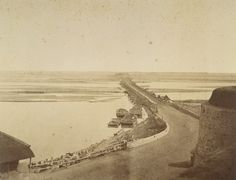 Bridge of Boats, [Delhi]. Part of a portfolio of photographs taken in 1858 by Major Robert Christopher Tytler and his wife, Harriet, in the aftermath of the Uprising of 1857.